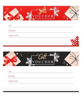 Conjunto de vales de regalo de lujo con cintas, lazos, cajas de regalo.