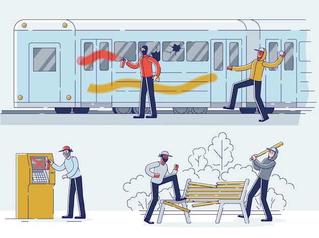 Conjunto de vándalos que dañan la propiedad pública. personajes en máscaras que dañan el vagón del metro, el parque y el cajero automático de la ciudad