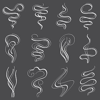 Conjunto de vapor de humo, iconos de línea de olor y humos aislados en blanco