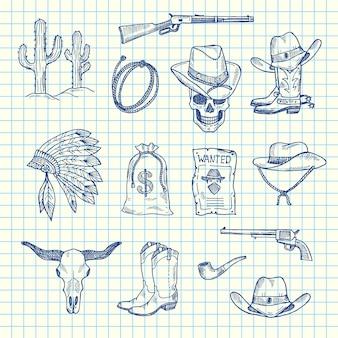 Conjunto de vaquero del salvaje oeste dibujado a mano