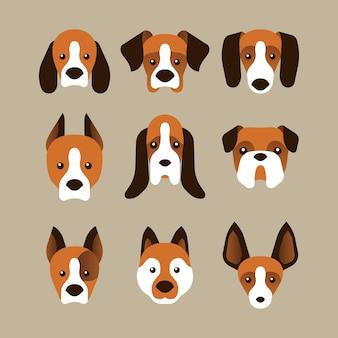 Un conjunto de variantes de la cara del perro en estilo plano