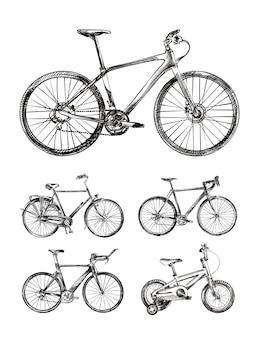 Conjunto de varias bicicletas, bocetos dibujados a mano de bicicletas