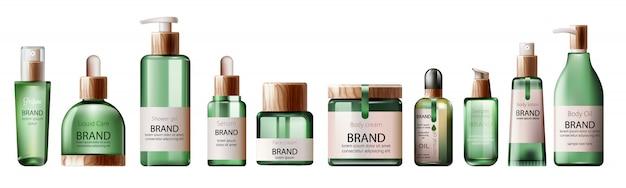 Conjunto de varias botellas de atención médica y spa verde. aceite corporal, loción, suero, gel de ducha y perfume.