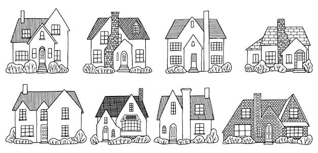 Conjunto de varias casas de campo encantadoras. colección de ilustraciones vectoriales dibujadas a mano. dibujos de contorno aislados en blanco.