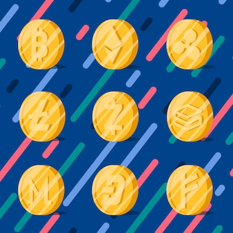 Conjunto de varias criptomonedas electrónicas vector símbolo de efectivo