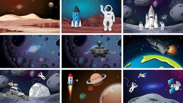 Conjunto de varias escenas espaciales.