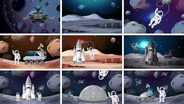 Conjunto de varias escenas de fondo de espacio
