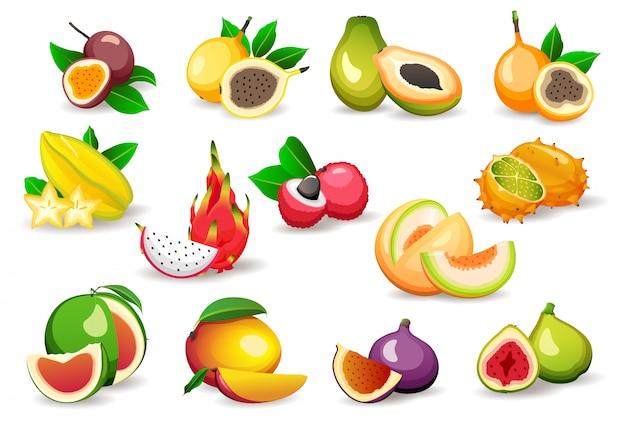 Conjunto de varias frutas exóticas aisladas sobre fondo blanco, estilo plano s. comida vegetariana