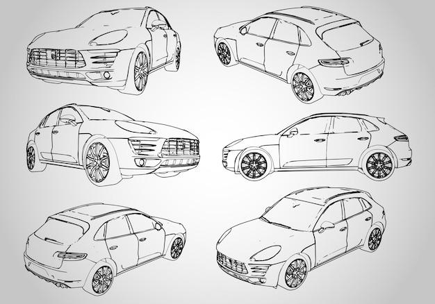 Un conjunto de varias ilustraciones de contorno de un todoterreno. ilustración vectorial.