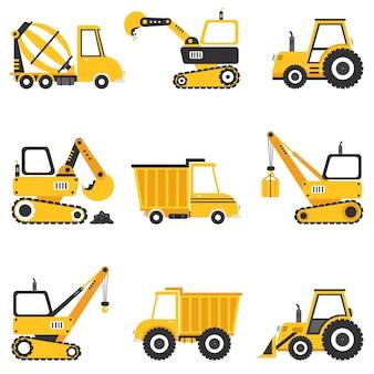 Conjunto de varias máquinas de construcción