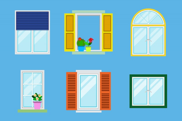 Conjunto de varias ventanas coloridas detalladas con alféizares, cortinas, flores, balcones.