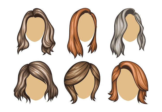 Conjunto de variedad de peinados de mujeres.