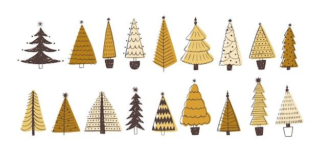 Conjunto de varios abetos, pinos o piceas decoradas con adornos