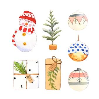 Conjunto de varios acuarela aislado invierno colección hogar ilustración.
