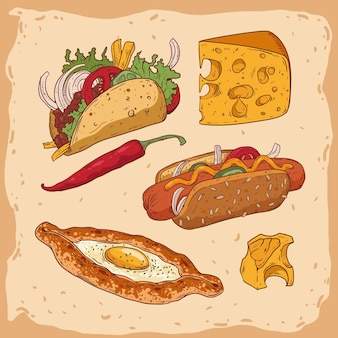 Conjunto de varios alimentos aislados