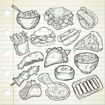 Conjunto de varios alimentos dibujados a mano