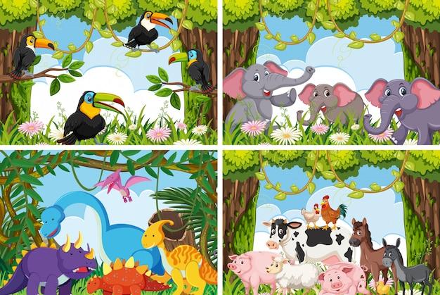 Conjunto de varios animales en escenas de la naturaleza.