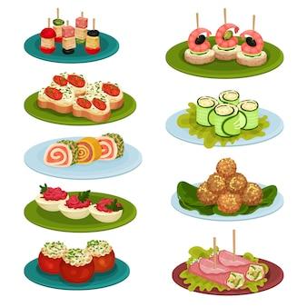 Conjunto de varios aperitivos para banquetes. apetitosa comida. tema culinario. para recetario o menú de restaurante