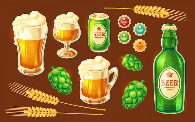 Conjunto de varios contenedores de dibujos animados de vectores para embotellar y almacenar cerveza