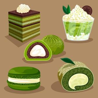 Conjunto de varios dulces orgánicos de matcha