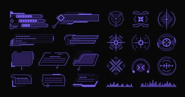 Conjunto de varios elementos planos de hud moderno