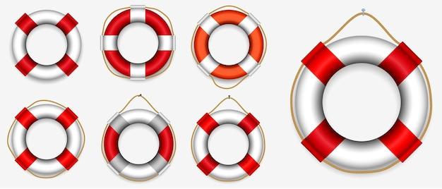 Conjunto de varios equipos de salvamento salvavidas aislados o salvavidas