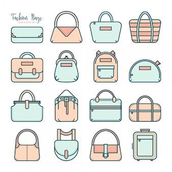 Conjunto de varios iconos de bolsa de moda de línea delgada en cuatro colores