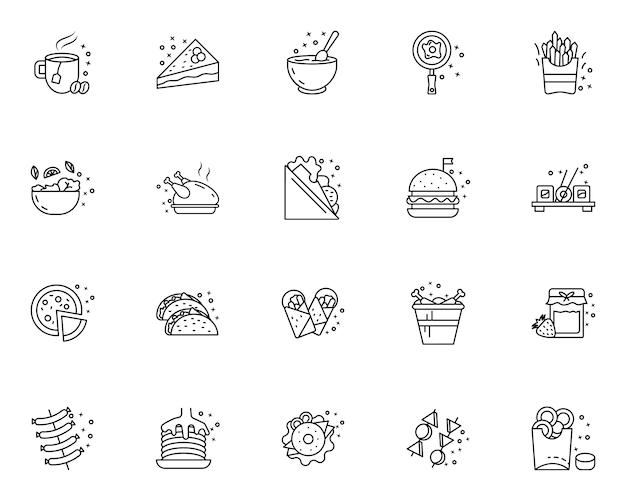 Conjunto de varios iconos de comida rápida y bebida alineados