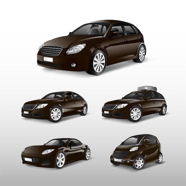 Conjunto de varios modelos de vectores de coche marrón.