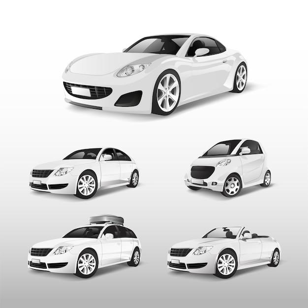 Conjunto de varios modelos de vectores de coches blancos.