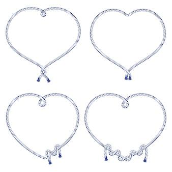 Conjunto de varios nudos, marcos y ataduras de cuerdas.