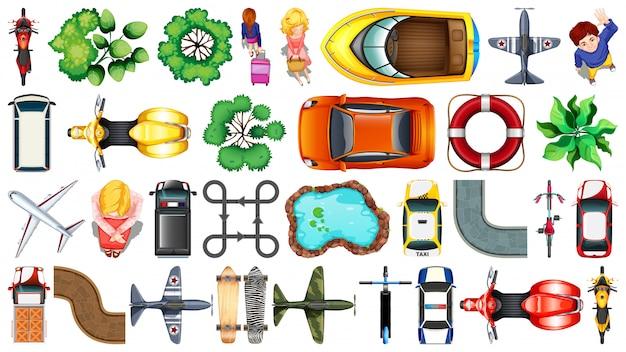 Conjunto de varios objetos vista superior
