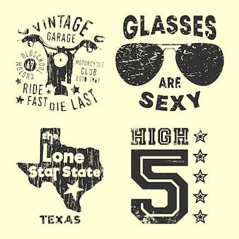 Conjunto de varios sellos de estampado de camiseta vintage.