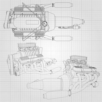 Un conjunto de varios tipos de potentes motores de automóvil. el motor está dibujado con líneas negras en una hoja blanca en una jaula.