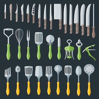 Conjunto de varios utensilios de cocina cubiertos de color plano.