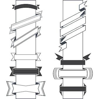 Conjunto de varios vectores retro diseño cintas retro y banners de estilo vintage