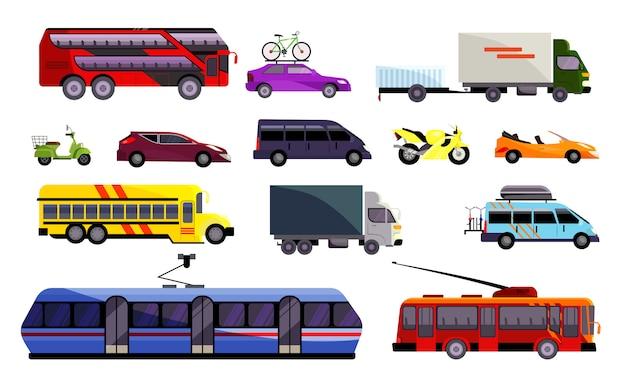 Conjunto de varios vehículos terrestres.