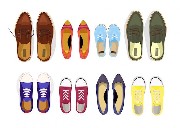 Conjunto de varios zapatos masculinos y femeninos.