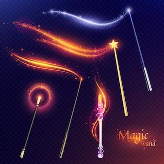 Conjunto de varitas mágicas voladoras con efecto de brillos dorados y plateados en transparente