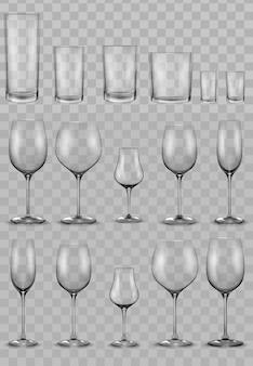 Conjunto de vasos de vidrio vacíos y copas de vino