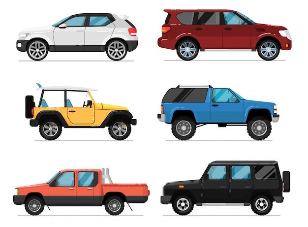 Conjunto de vector aislado de coche de ciudad moderna