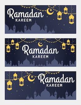 Conjunto de vector de banner horizontal de ramadan kareem, con linterna y mezquita