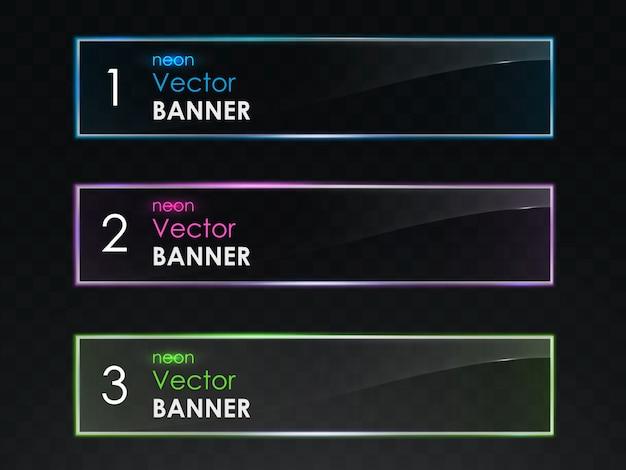 Conjunto de vector de banners horizontales de luz de neón realista