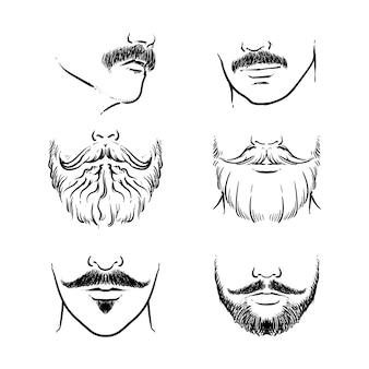 Conjunto de vector de bigote hipster