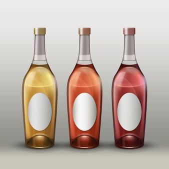 Conjunto de vector de botellas de colores completos con etiquetas vacías vista frontal aislado sobre fondo degradado