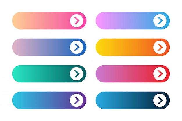 Conjunto de vector de botones de aplicación o juego degradado moderno. botón web de interfaz de usuario con flechas.