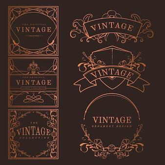 Conjunto de vector de bronce vintage art nouveau insignias