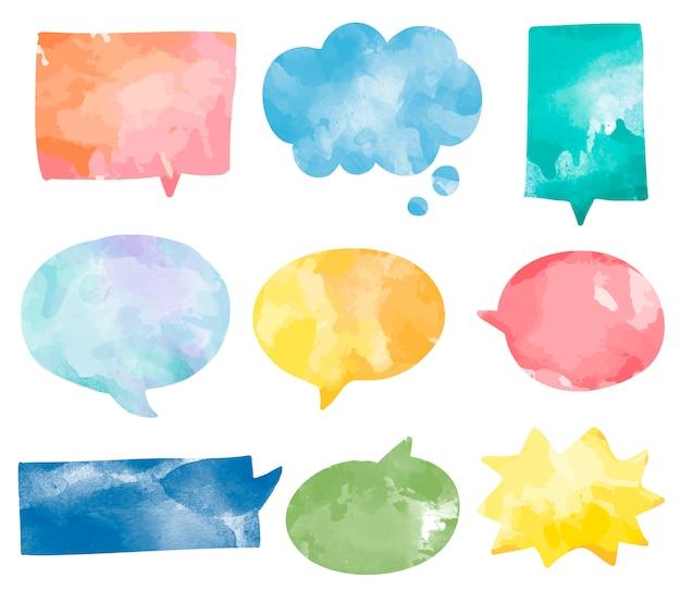 Conjunto de vector de burbujas coloridas discurso acuarela