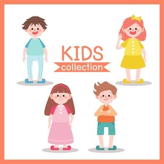 Conjunto de vector de carácter de los niños. ilustración de niños.
