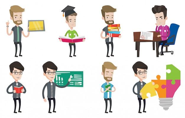 Conjunto de vector de caracteres de estudiante y profesor.